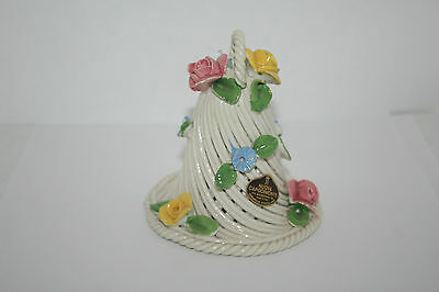 Italy Nuova Capodimonte Porcelain Basket Weave Bell w Pink Yellow Blue Flowers