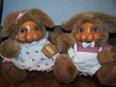 New: LOT/2  ASHLEY & BRETT Bunny Rabbits Vintage 1988 ROBERT RAIKES BEARS