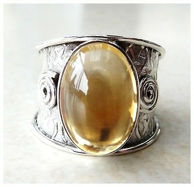 925 Sterling Silver CITRINE Semi Precious Gemstone CAB RING SIZE P ~ US 7 3/4