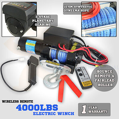 12V 4000LBS Synthetic Rope Electric Winch Wireless Remote ATV 4WD Boat Truck 4x4