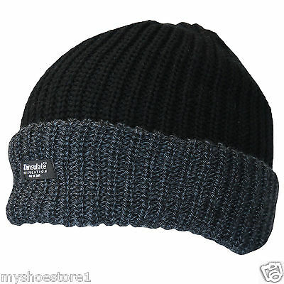 Thinsulate Knitted Mens Warm Winter Wooly Outdoor Chunky Beanie Ski Thermal Hat