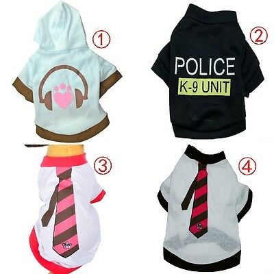 Pet Cat Dog Puppy Clothes Vest T-Shirt Apparel Various Size Cute Style Coat USA