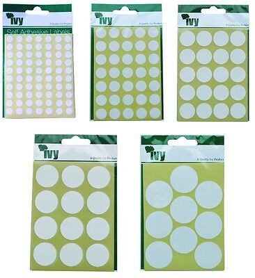 IVY White Round Circle Stickers Dots Sticky Self Adhesive Sticky Labels