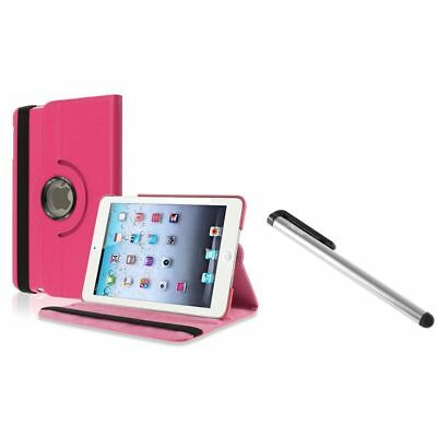 Hot Pink 360 Rotating Leather Case+Silver LCD Stylus for Apple iPad Mini
