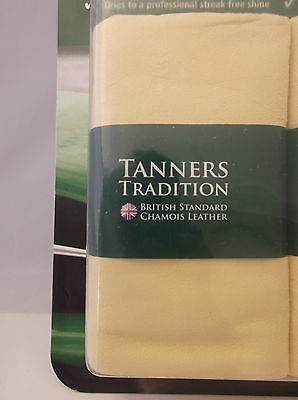 1 x TANNERS TRADITION GENUINE LARGE CHAMOIS SHAMMY LEATHER CAR CLEANING CLOTH