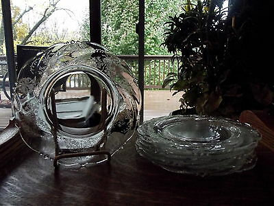 """vintage (6) SALAD LUNCHEON PLATES Glass cut Etched crystal Heisey Orchid 8.25"""""""
