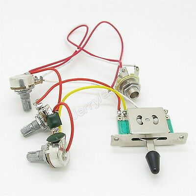 Wiring Harness Prewired 500k Pots 1 Volume 2 Tone 5 Way Switch for Strat Guitar