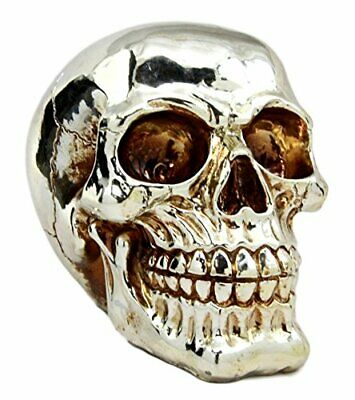 Chrome Plated Silver Skull Head Horror Collection Figurine Statue Skeleton Cool