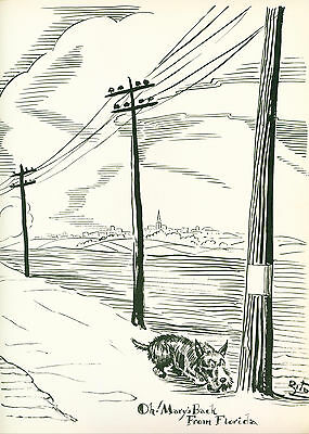 Dog Print 1941 Scottish Terrier walking the Power Lines VINTAGE