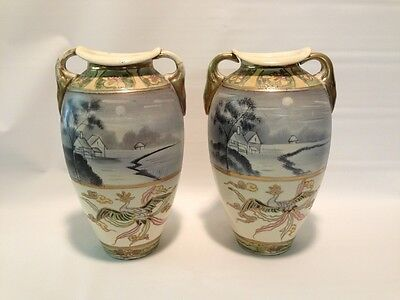 Antique Pair Of Japanese Themed Nippon? Vases