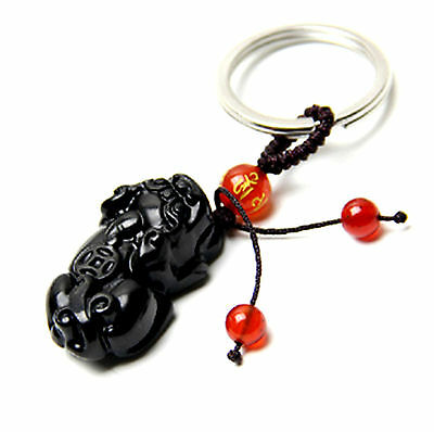 Feng Shui Obsidian Pi Yao / Pi Xiu xie key chain ring amulet attrack wealth