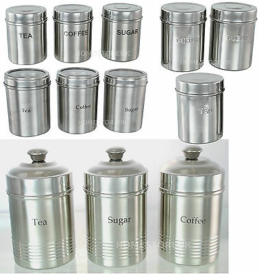 3Pc Set Tea Coffee Sugar Stainless Steel Storage Canister Jar Pot Set With Lids