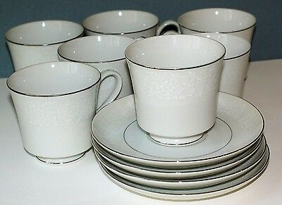 Six (6) Crown Victoria china Love Lace teacups & saucers