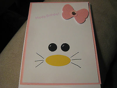 Stampin Up Card Handmade Hello Kitty Birthday card- pink