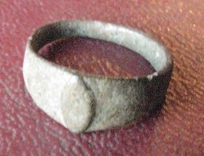 Authentic Ancient Artifact > Bronze Finger RING Sz: 1 US 12.75mm 12684