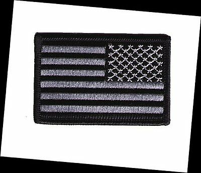 """IRON-ON United States US flag 3""""x2"""" stars right black silver gray  patch police"""