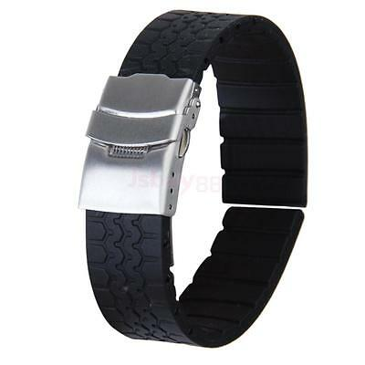 20MM Men's Tire Grain Silicone Rubber Watch Band Strap Replacement Waterproof