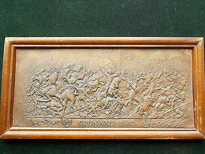 GRUNWALD 1410 BATTLE SCENE COPPER EMBROSSED PLAQUE with a Wood Frame