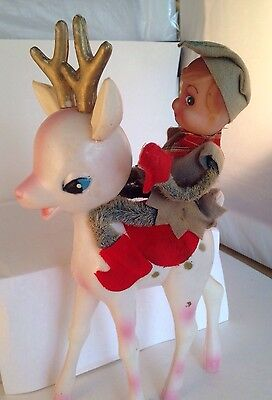 Vintage Antique Christmas Plastic Reindeer Elf Hong Kong