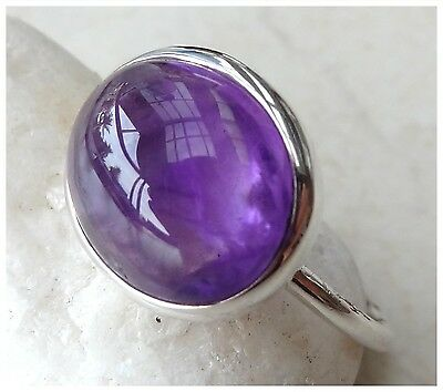 925 Sterling Silver PURPLE AMETHYST Semi Precious Gemstone CAB RING SIZE P 1/2