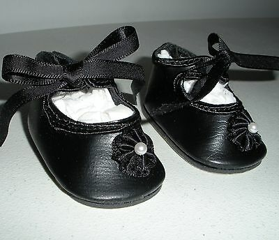 Fits 15 Inch Tiny Tears Doll..Black Rosette Doll Shoes Doll Shoes..Item No.364BK