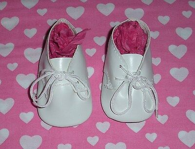 Fits 15 Inch Tiny Tears Doll...White Baby Tie Doll Shoes...Item No. 1864WH