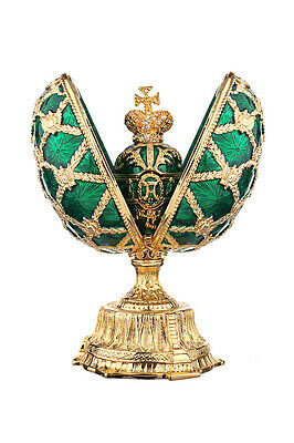 Faberge Egg Russian Coat of Arms & Emperor's Crown Trinket Jewel Box 12cm green
