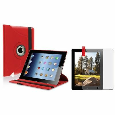 Red 360 Degree Leather Case Cover+Matte LCD Protector Film For iPad 4 4G