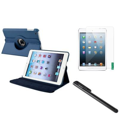 Navy Blue 360 Leather Case+Anti-Glare LCD Guard+Black Stylus For iPad Mini 1 2 3