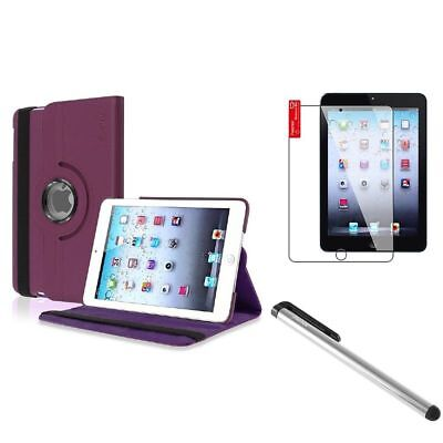 Purple 360 Rotating Leather Case+Silver LCD Stylus+Shield for iPad Mini