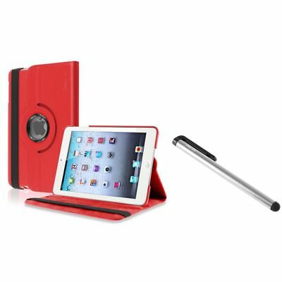 Red 360 Rotating Leather Case+Silver LCD Stylus for Apple iPad Mini