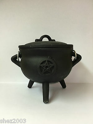 Cast Iron Cauldron With Pentagram Design ~ Pagan ~ Wicca ~ Altar ~ Ritual
