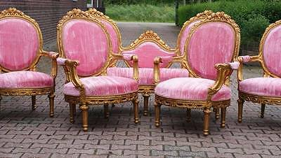 ANTIQUE FRENCH LOUIS XVI SET SOFA WITH 4 CHAIRS -