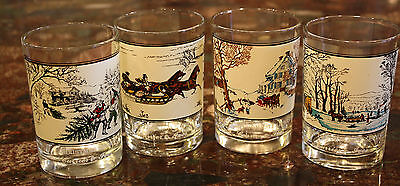 Set of 4 Vintage CURRIER & IVES Christmas Glasses Tumblers Collectors Series 80s