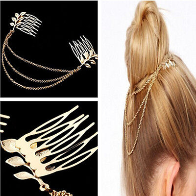 Noble Party Women Tassel Leaf Chain Gold Metal Comb Cuff Cool Headband Hair Band