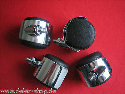 4 Pieces Rolls for USM Haller Castors Castor Roll Replacement roll Chrome