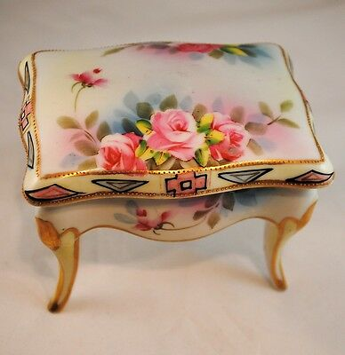 Nippon Footed Trinket Jar or Jewelry Box