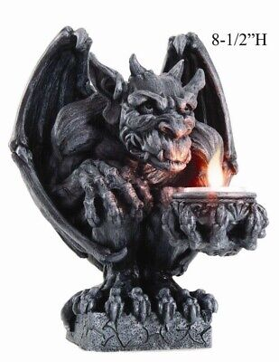 "Large 8.5""H Winged Gargoyle Candleholder Tea Light Sculpture Handpainted Decor"