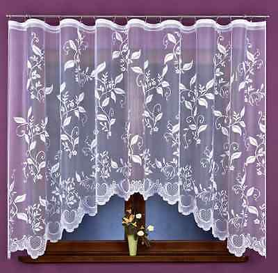 Amazing Leaves White Jacquard Net Curtains READY-MADE  Home Window decoration