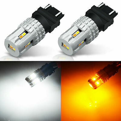 JDM ASTAR 2x 3157 60SMD Dual Color Switchback White/Amber LED Turn Signal Bulb