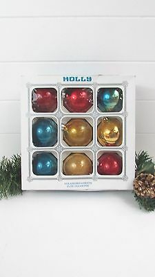 "Vintage 9 Mercury Glass 2 1/4"" HOLLY Multi Color Christmas Ornaments In Box"