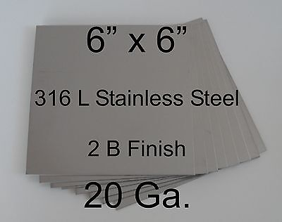 """12 pcs 316L 20 Ga 6"""" x 6"""" Stainless Steel Plate for HHO cell"""