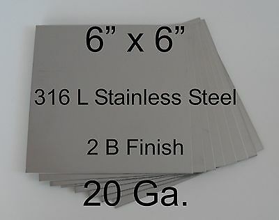 "10 pcs 316L 20 Ga 6"" x 6"" Stainless Steel Plate for HHO cell"