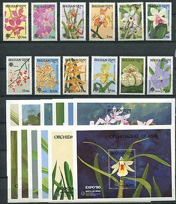 Bhutan 1990 Orchids - Flowers Mint Set Of 12 Stamps And
