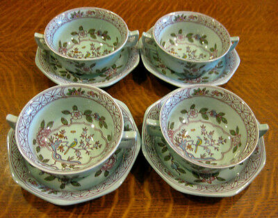 4 ADAMS CHINA CALYX WARE SINGAPORE BIRD PALE GREEN CREAM SOUP BOWLS AND SAUCERS