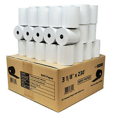 """3 1/8"""" x 230' 50 ROLLS thermal paper *GUARANTEED 230'FT* SAME DAY FREE SHIPPING"""