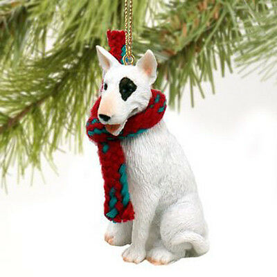 BULL TERRIER WHITE DOG CHRISTMAS ORNAMENT HOLIDAY XMAS Figurine Scarf  gift