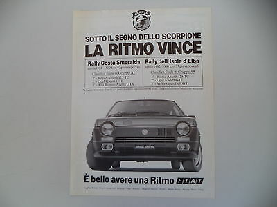advertising Pubblicità 1982 FIAT RITMO ABARTH
