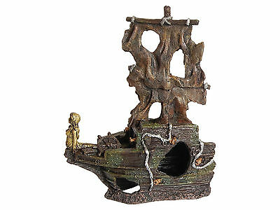 Large 2 Piece Shipwreck Aquarium Fish Tank Ornament Decoration