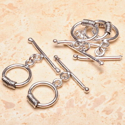 5SETS 925 SILVER PLATED OVER SOLID COPPER TOGGLE CLASPS FINDINGS JEWELRY